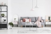 Photo Real photo of a living room interior with a sofa, pillows, tables, black shelf and lamps
