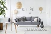 Fotografie echtes Foto einer einfachen Wohnzimmereinrichtung mit Kissen auf grauem Sofa, Gemälden an weißer Wand und Kirschen auf einem Couchtisch