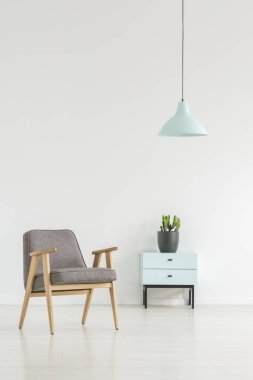 Minimal room interior with a retro armchair, small cabinet with a plant and lamp. Place your logo here