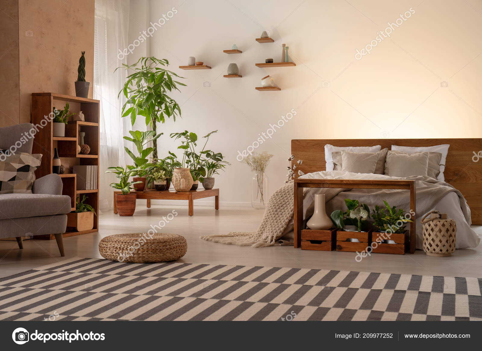 Warm Bedroom Interior Plants Shelves Striped Rug Pouf Bed Armchair Stock Photo C Photographee Eu 209977252