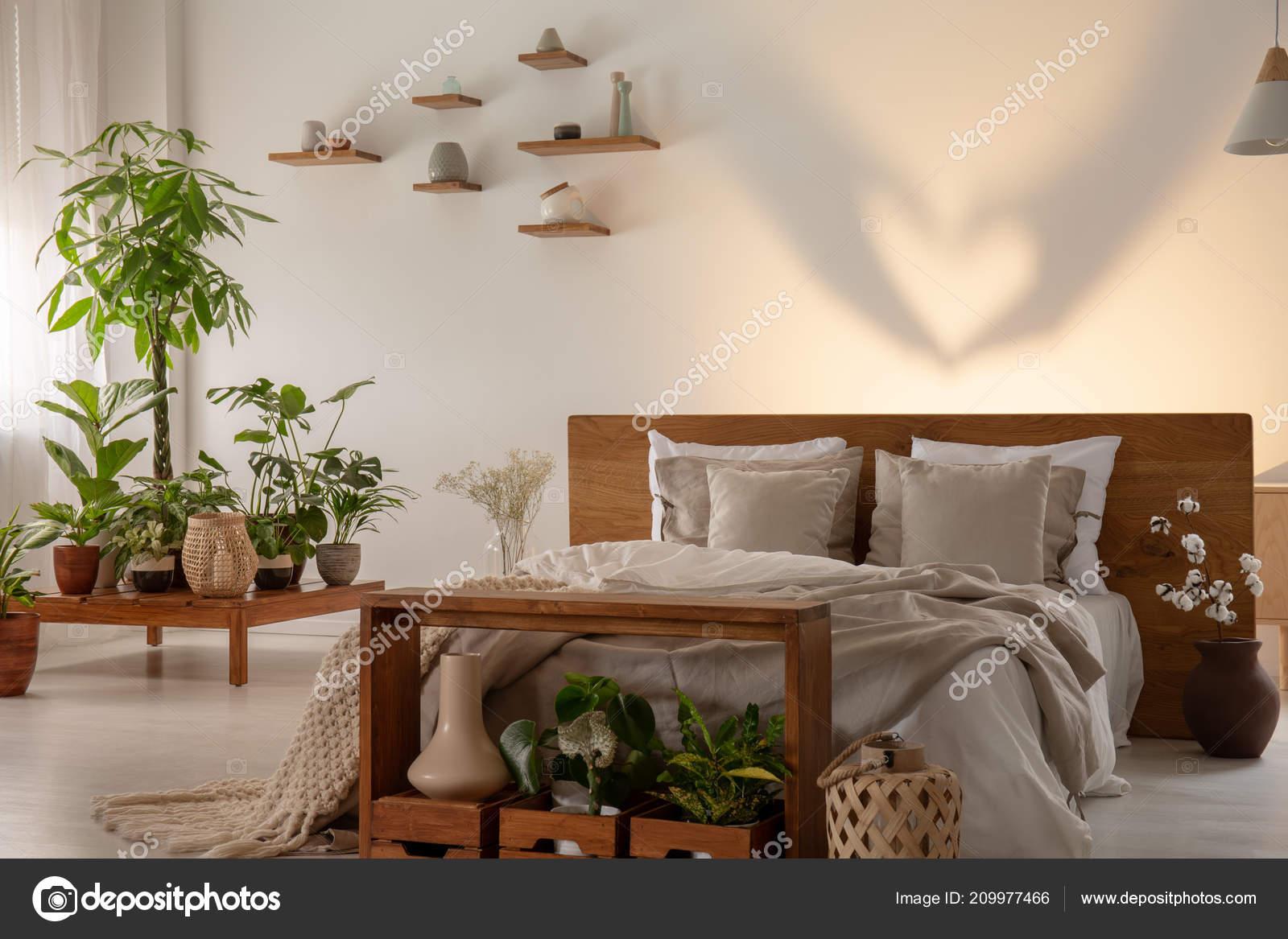 Cień ścianie łóżko Zagłówkiem Drewniane Sypialni Wnętrza