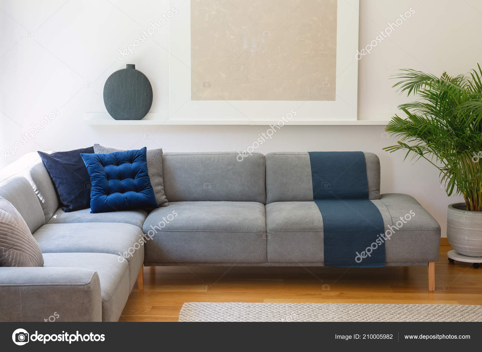 Slaapbank Lounge Grijs.Blue Pillows Grey Corner Couch Living Room Interior Plant Silver