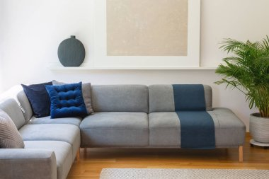 Blue pillows on grey corner couch in living room interior with plant and silver painting. Real photo