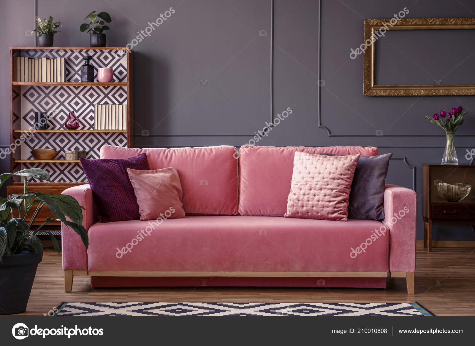Peachy Satin Pillows Pink Velvet Sofa Luxurious Living Room Machost Co Dining Chair Design Ideas Machostcouk