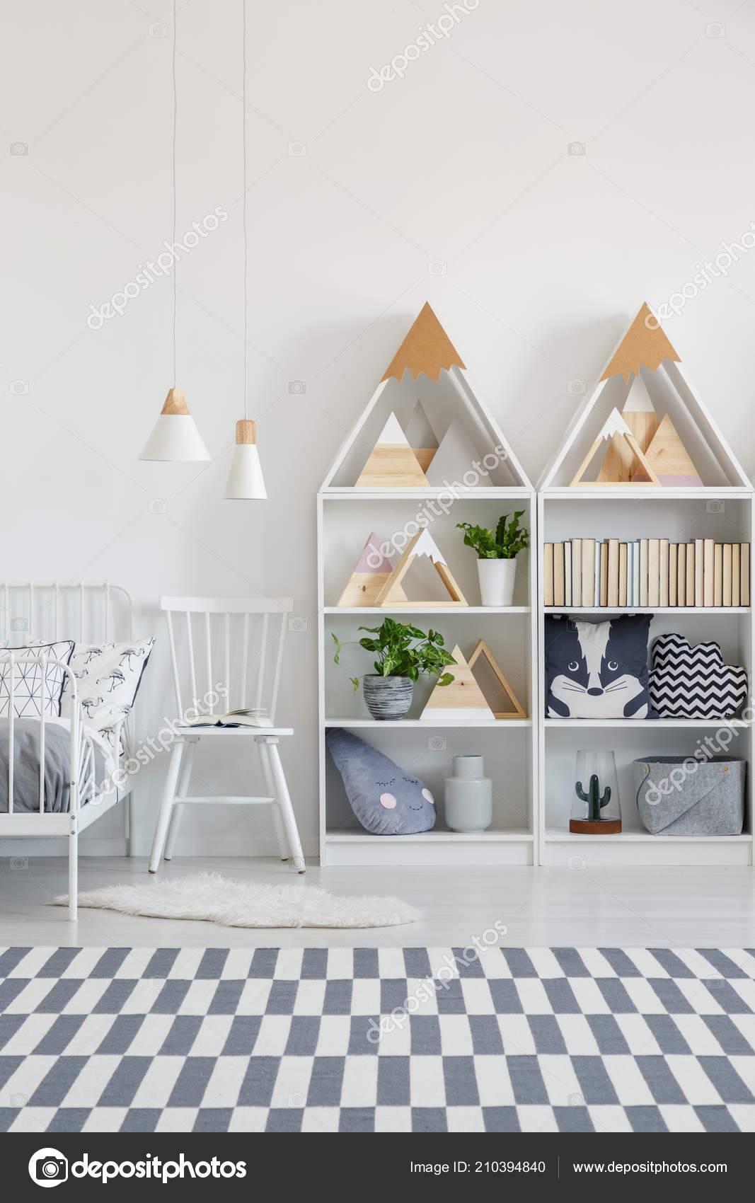White Chair Bed Shelves Kid Bedroom Interior Patterned Carpet Real Stock Photo C Photographee Eu 210394840