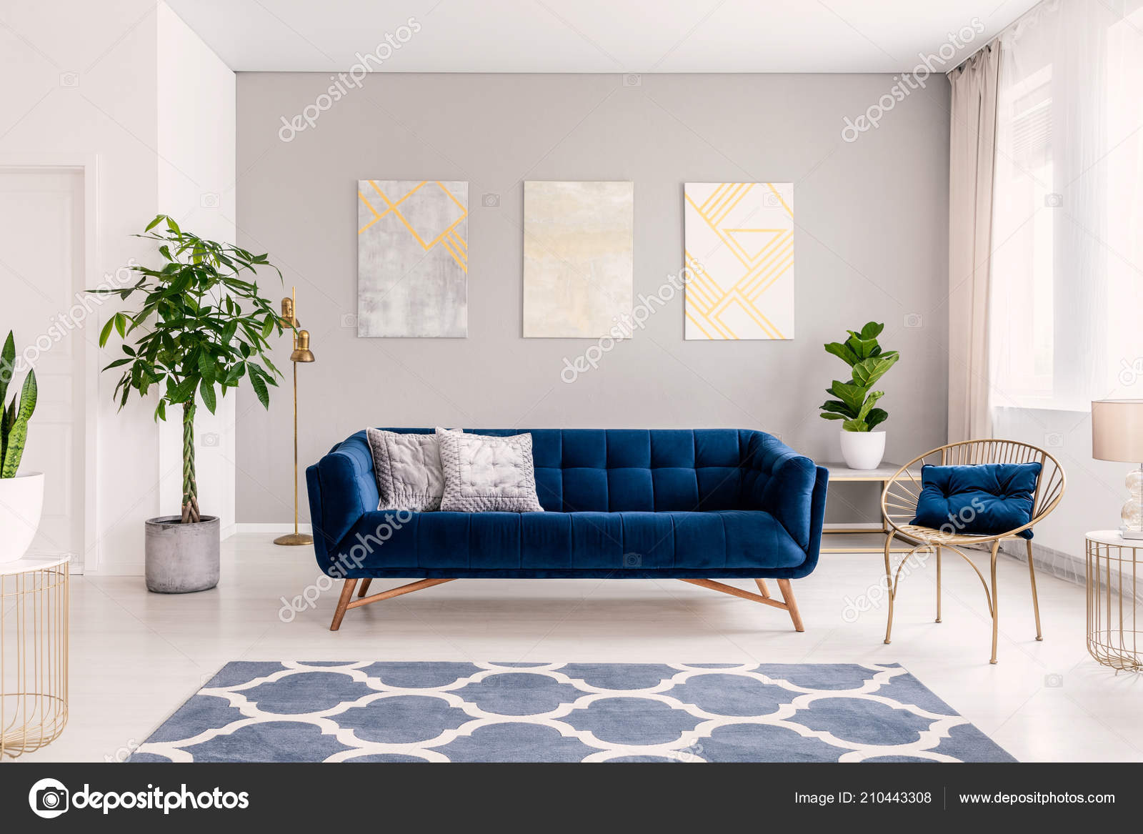 Royal blue couch two pillows standing real photo bright living stock photo
