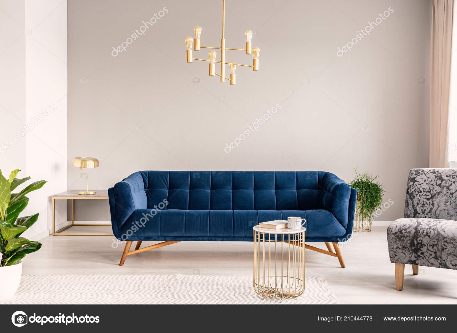 Gold Lamp Hanging Royal Blue Sofa Real Photo Light Grey Stock Photo Image By Photographee Eu 210444778