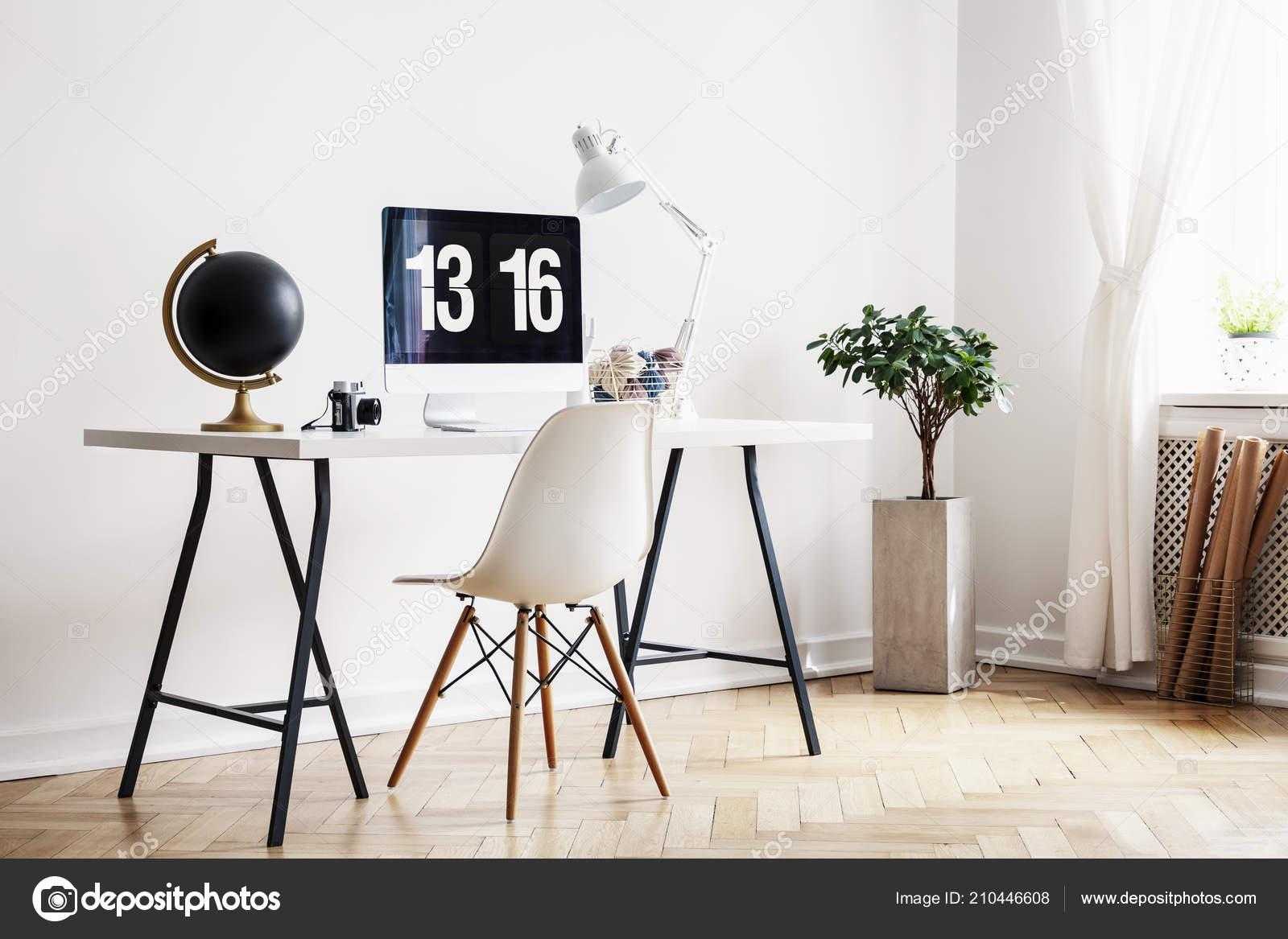 Fine White Chair Desk Black Globe Desktop Computer Home Office Inzonedesignstudio Interior Chair Design Inzonedesignstudiocom