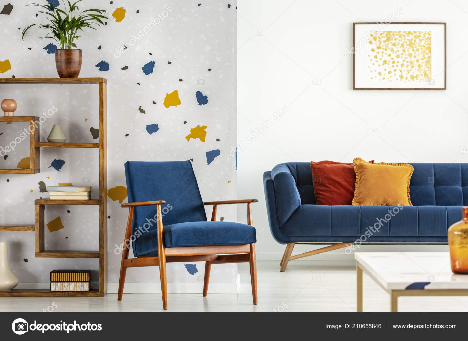 Armchair Couch Pillows Blue Orange Living Room Interior Poster Plant