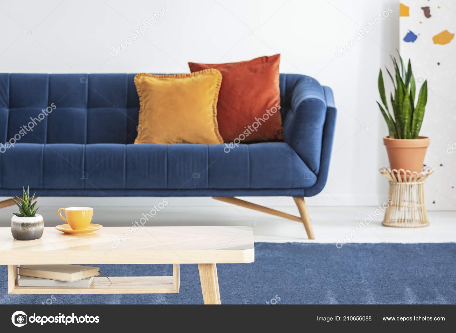 Neben Blauen Couch Mit Orange Kissen Wohnzimmer Interieur Mit