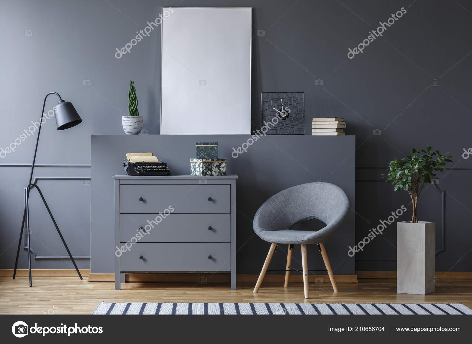 Armchair Next Cabinet Grey Living Room Interior Mockup Poster Lamp Stock Photo C Photographee Eu 210656704