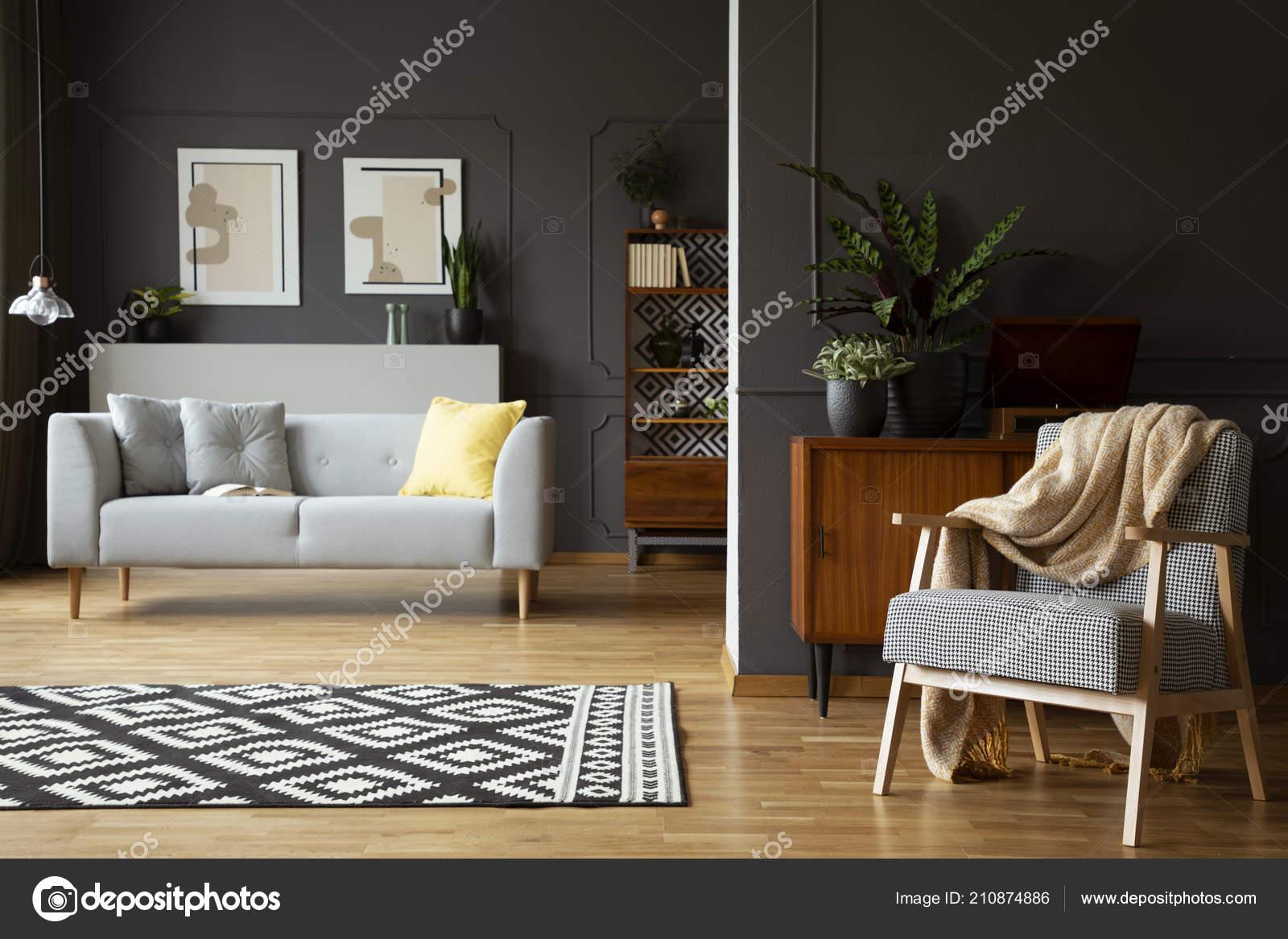 Awe Inspiring Blanket Armchair Living Room Interior Patterned Carpet Grey Pdpeps Interior Chair Design Pdpepsorg