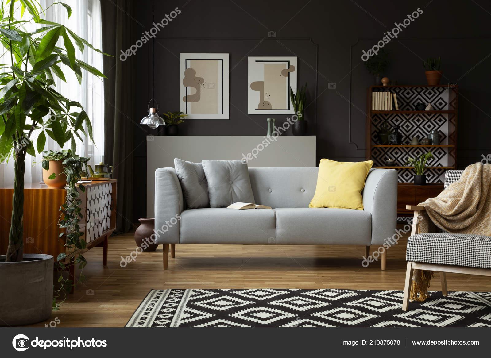 Sessel Mit Decke Auf Teppich Wohnzimmer Interieur Mit Grauen Sofa ...