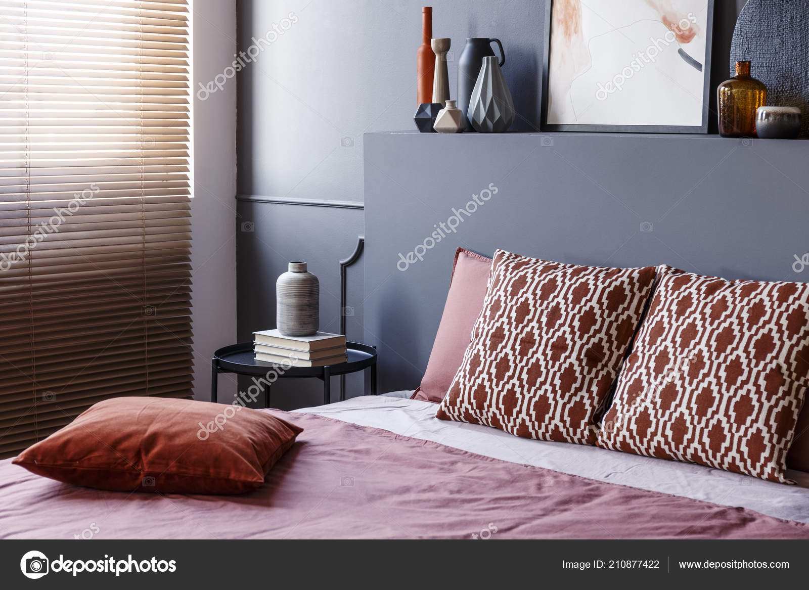 Patterned Cushions Bed Headboard Grey Modern Bedroom Interior Blinds Stock Photo Image By C Photographee Eu 210877422