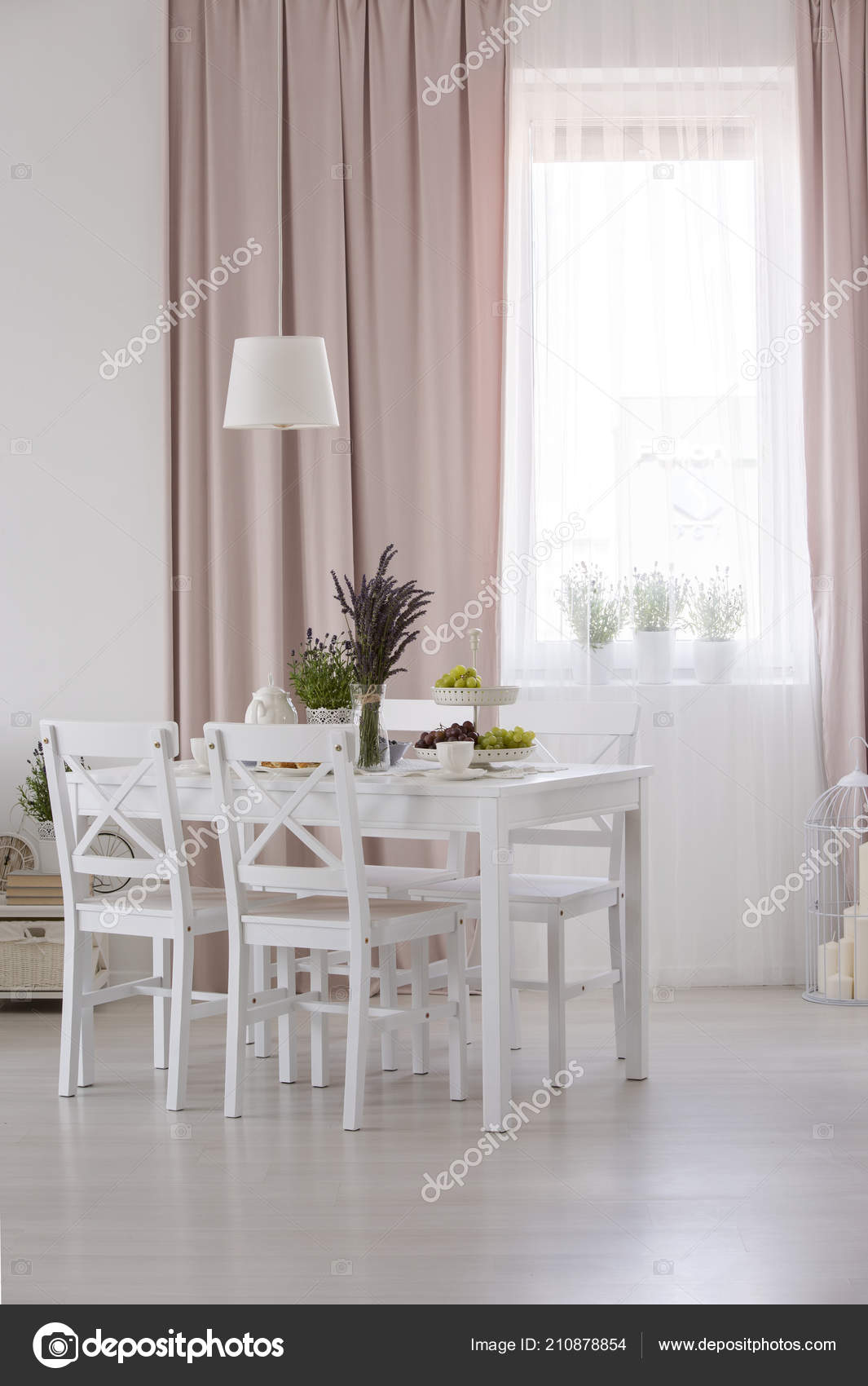 Real Photo White Dining Room Interior Window Curtains Table ...