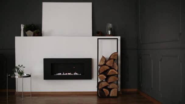 Rám s dřevem přisazené eco krb ve videu z interiéru tmavě šedý obývák s obložení na stěny, čerstvé rostliny a maketa plakát na polici. Oheň v krbu