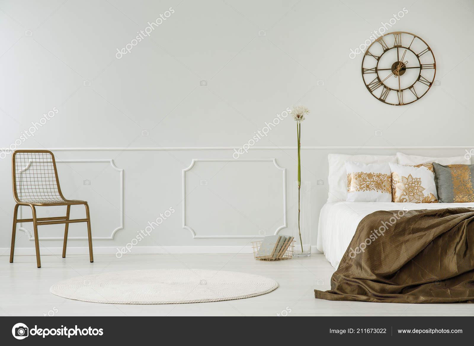 Strange Gold Clock Bed Blanket White Bedroom Interior Chair Machost Co Dining Chair Design Ideas Machostcouk