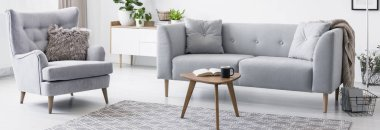 Real photo of grey armchair with fur cushion and sofa standing in white sitting room interior with small coffee table with book and mug placed on carpet