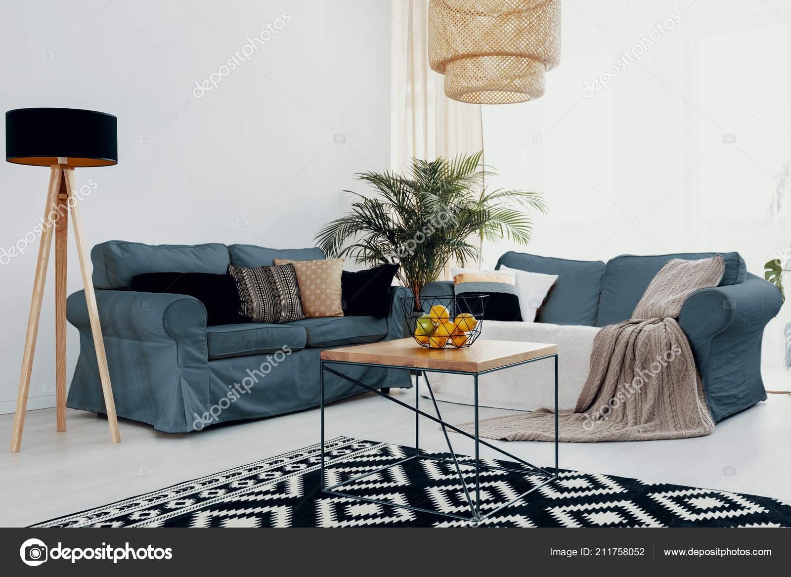 Plant Wooden Table Green Corner Sofa White Living Room ...