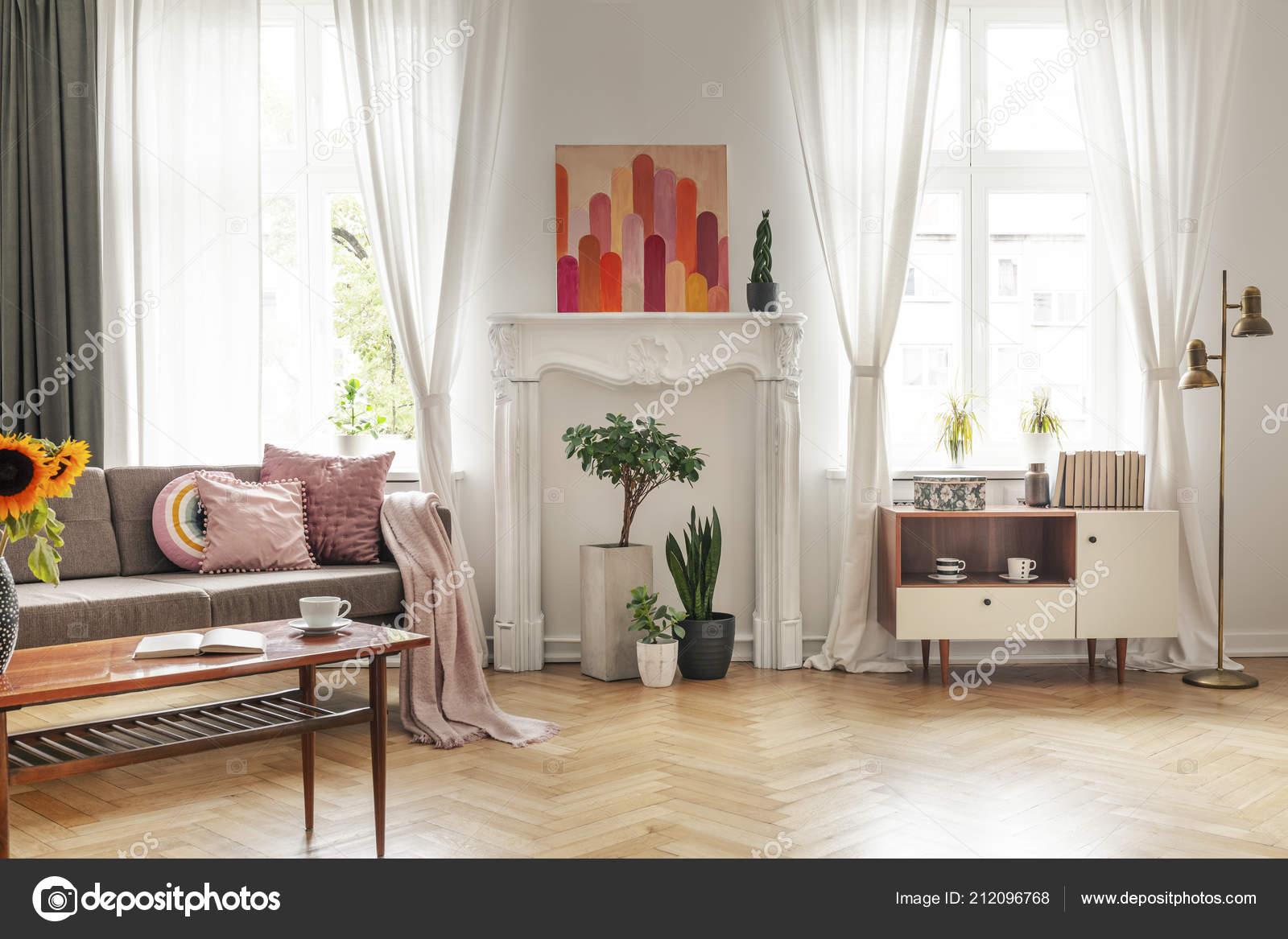Gordijnen Windows Poster Wit Woonkamer Interieur Met Bank