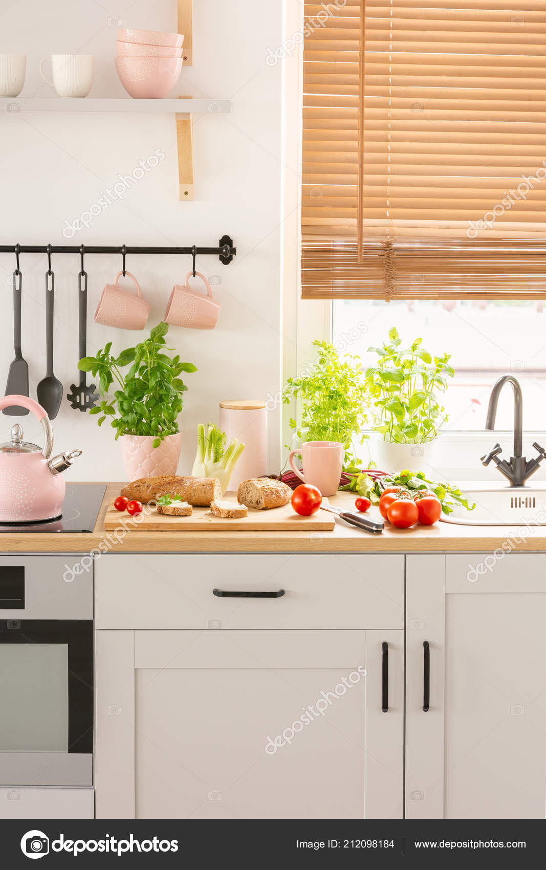 Food Pink Accessories Countertop Bright Kitchen Interior Blinds Real