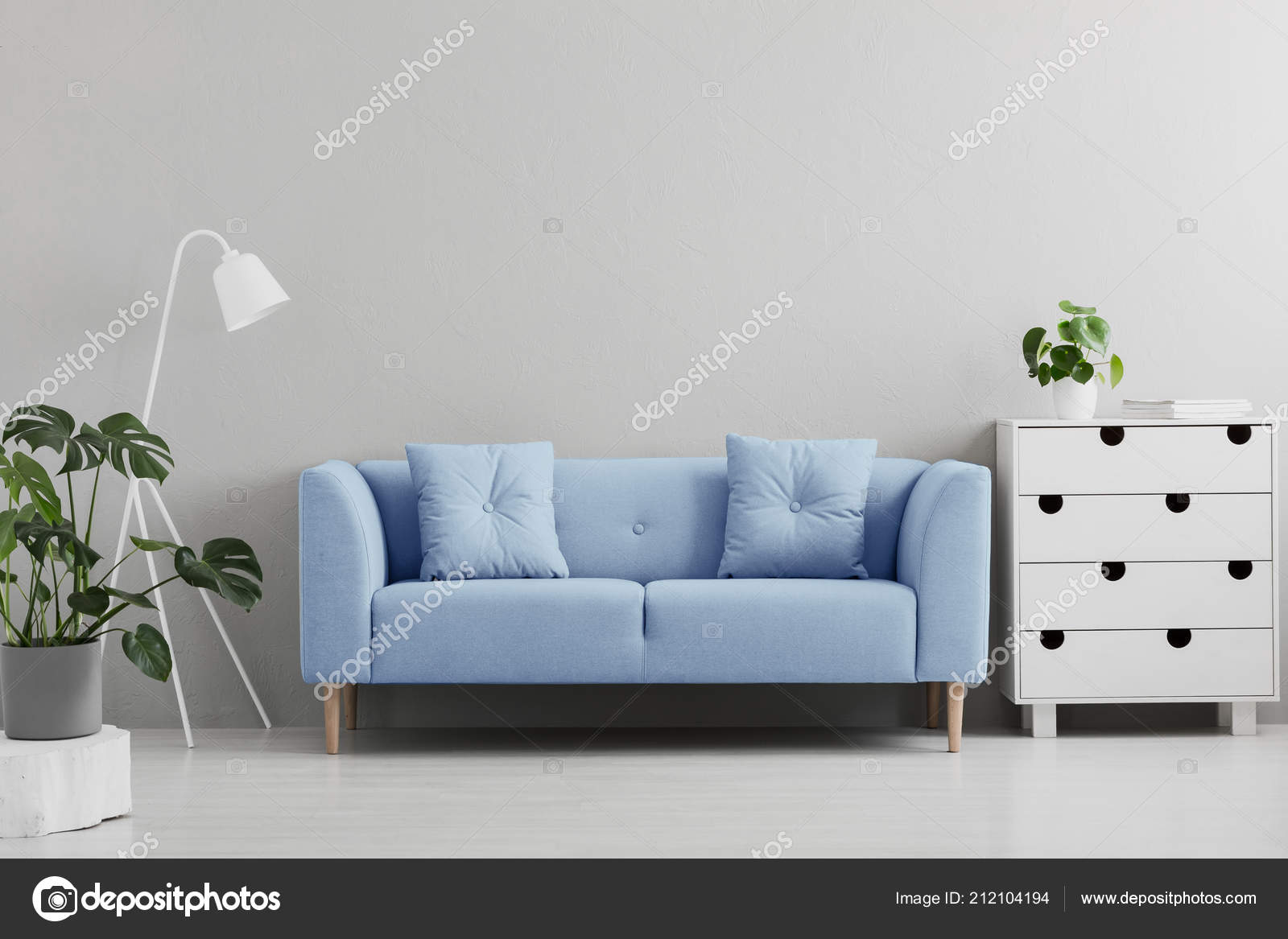 Blue White And Grey Living Room Blue Sofa White Lamp