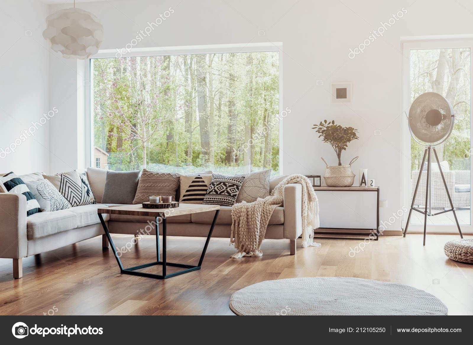 Print Pattern Pillows Beige Corner Sofa Big Glass Window ...