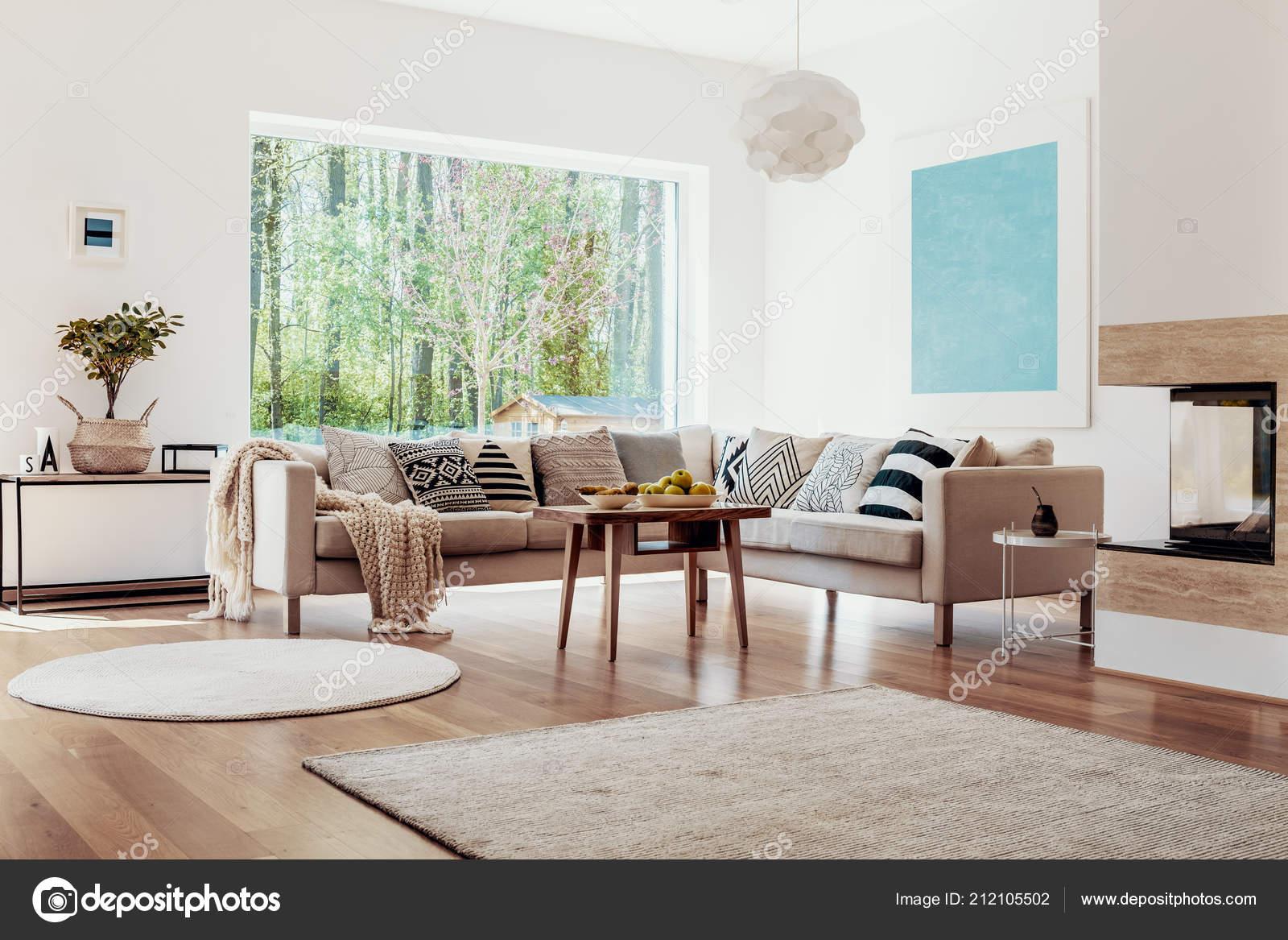 Beige Teppiche Auf Dem Boden Eine Weiße Geräumige Wohnzimmer