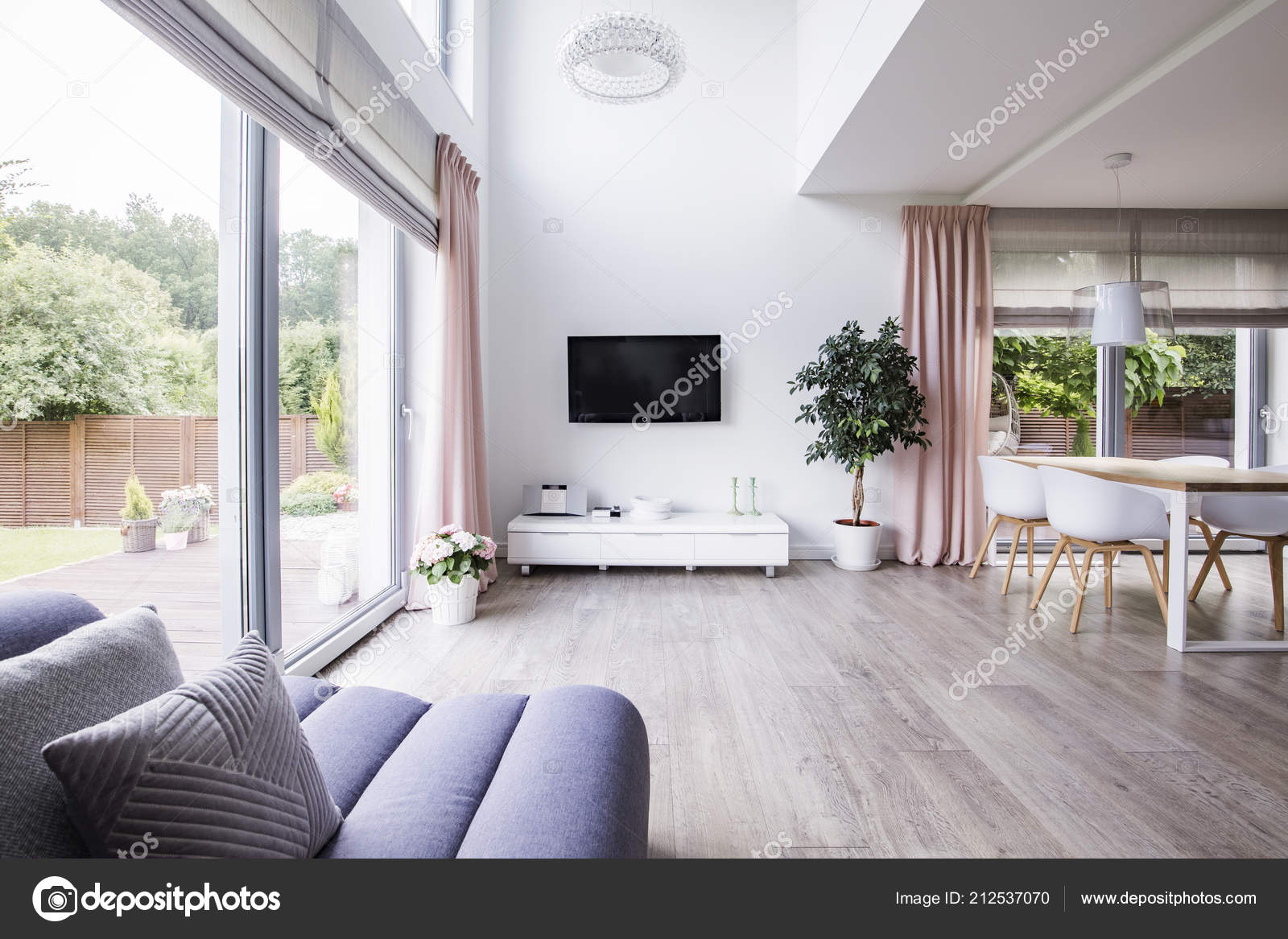 Spacious Living Room Interior Cropped Sofa Cabinet Window Plant Dining Stock Photo Image By Photographee Eu 212537070