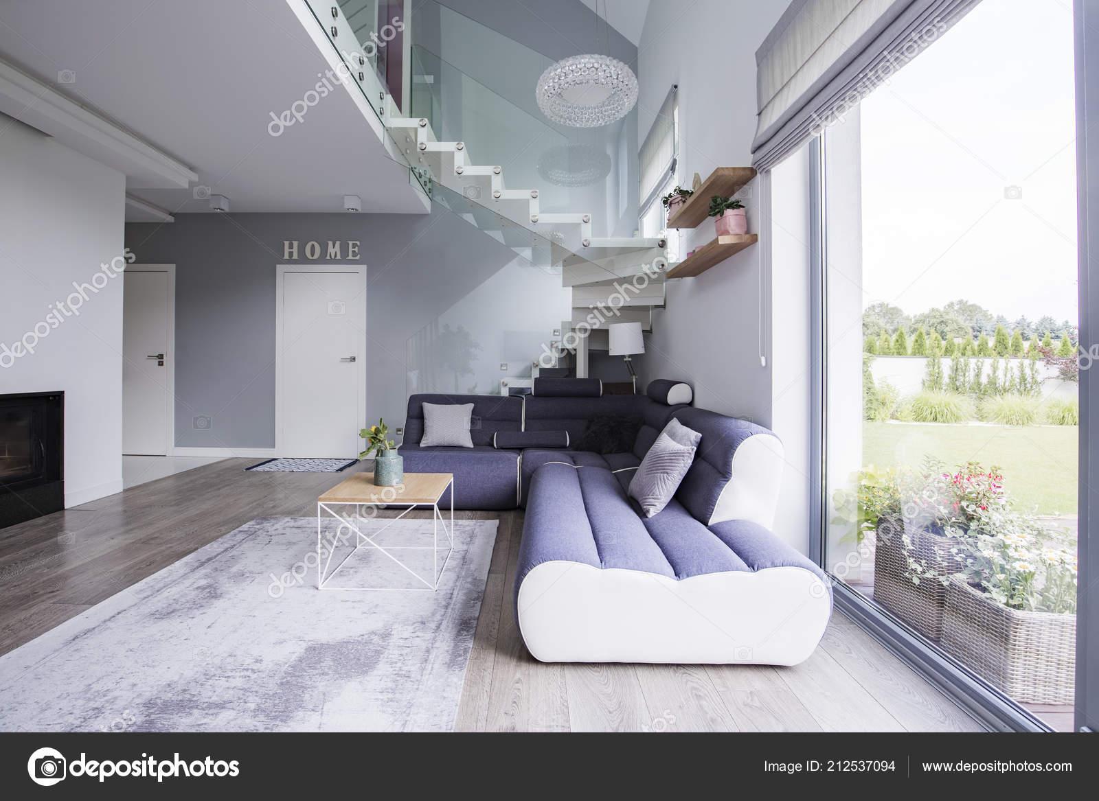 Corner Sofa Coffee Table Stairs Elegant Living Room Interior Real