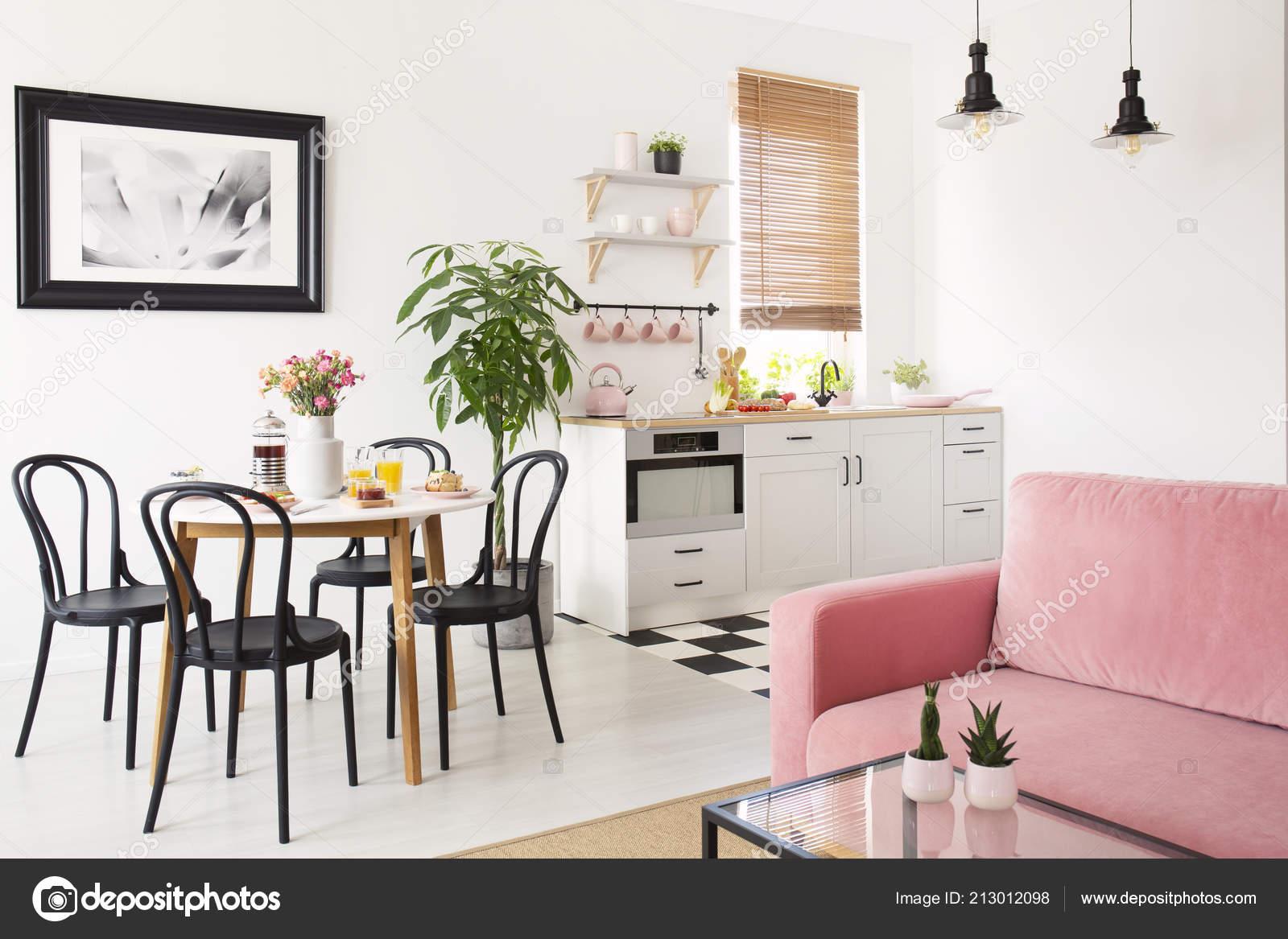 Pink Sofa White Apartment Interior Kitchenette Black Chairs