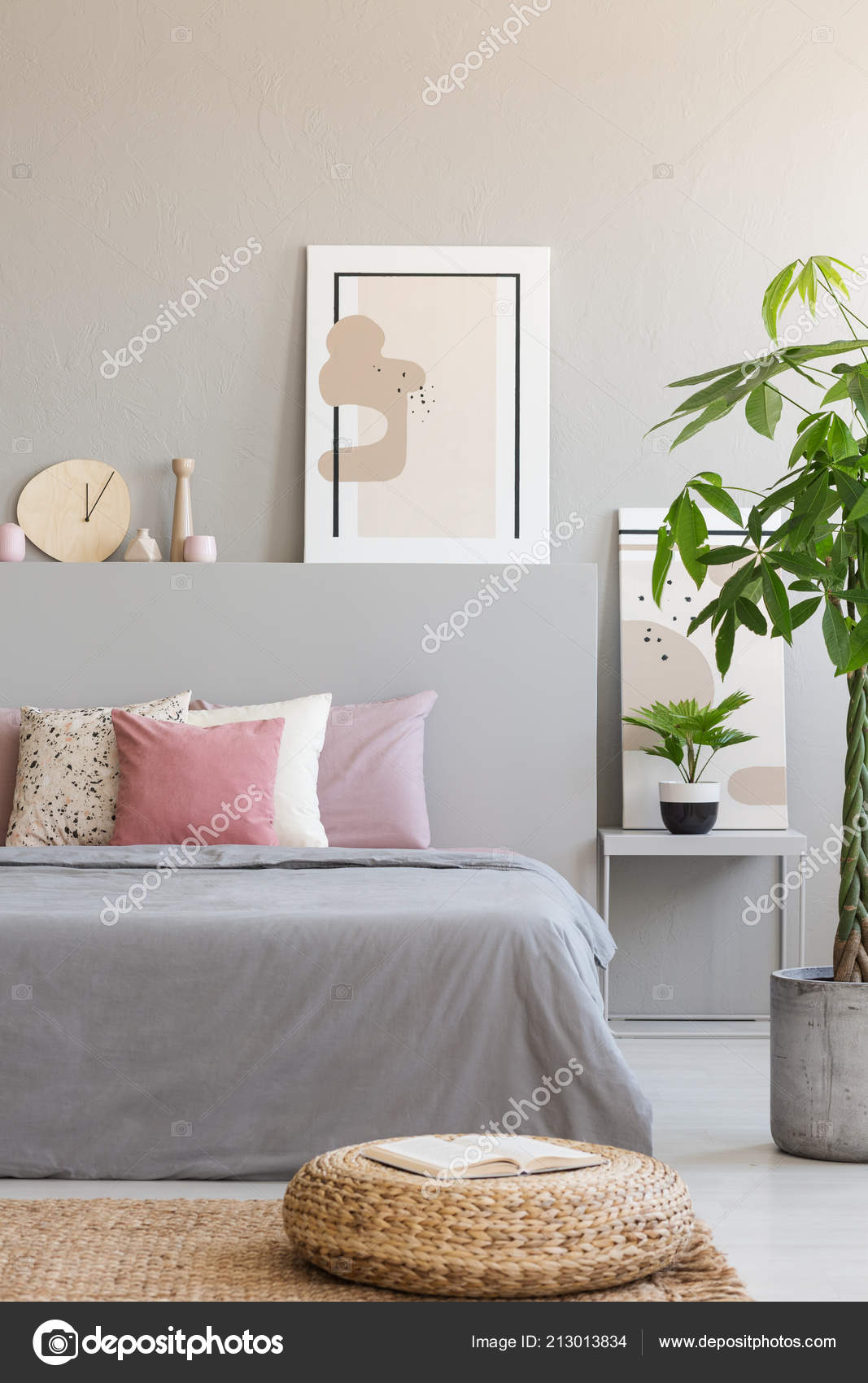 Pouf Plant Next Grey Bed Pink Cushions Bedroom Interior Poster ...