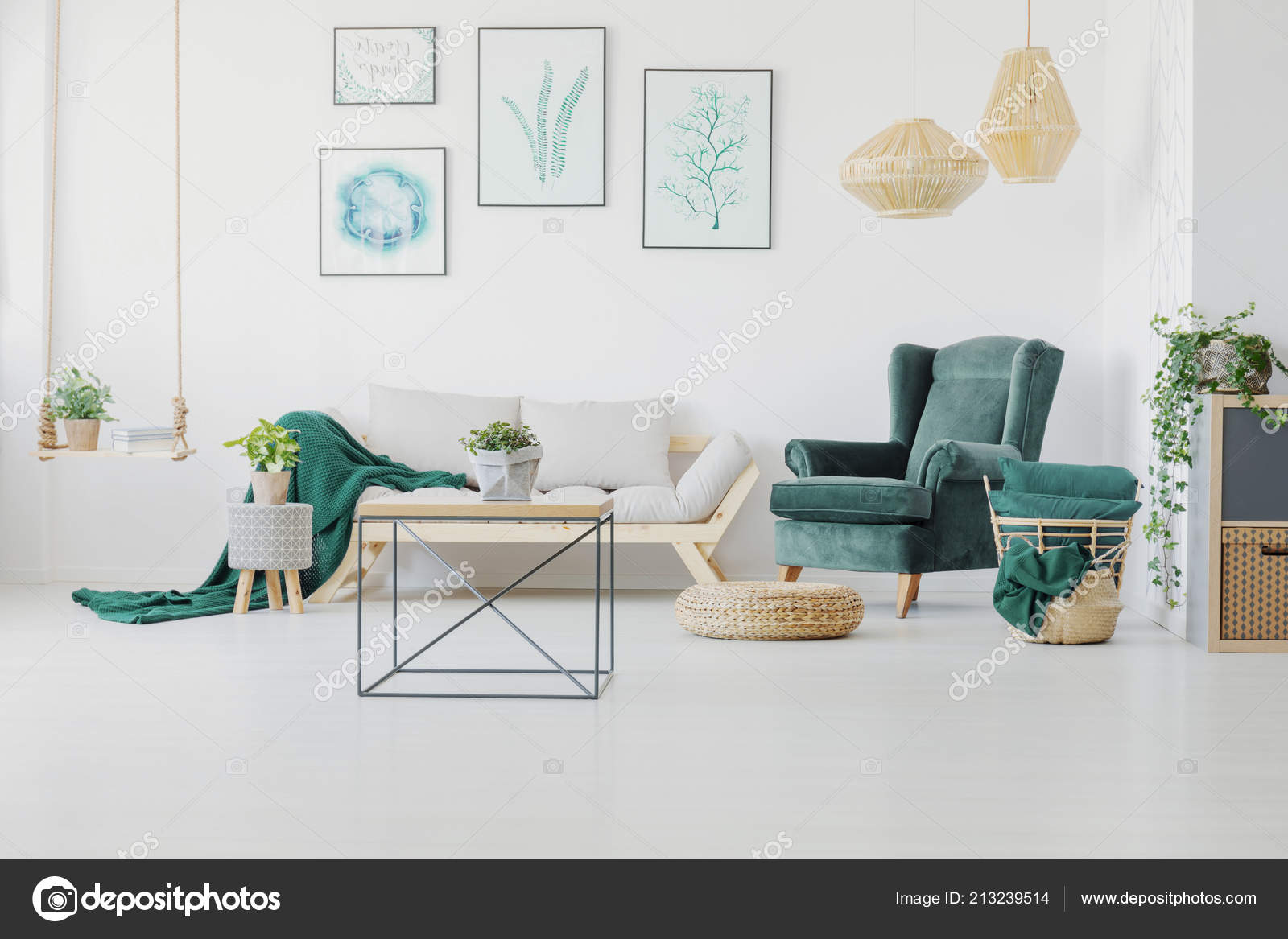 Green Accents Graphics Modern Coffee Table Living Room Interior Real U2014  Stock Photo