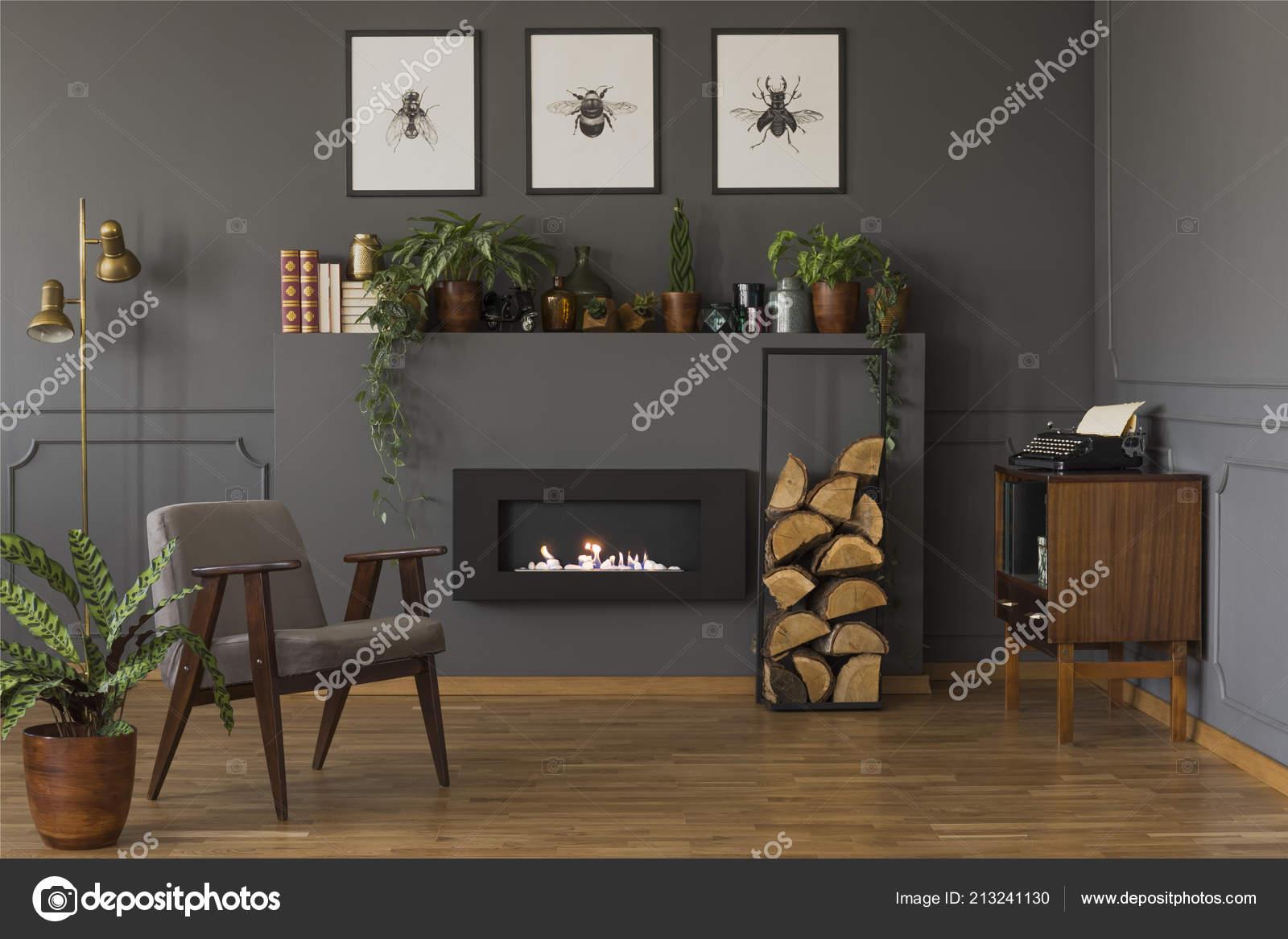 Echtes Foto Von Einer Grauen Sessel Stand Vor Einer Lampe