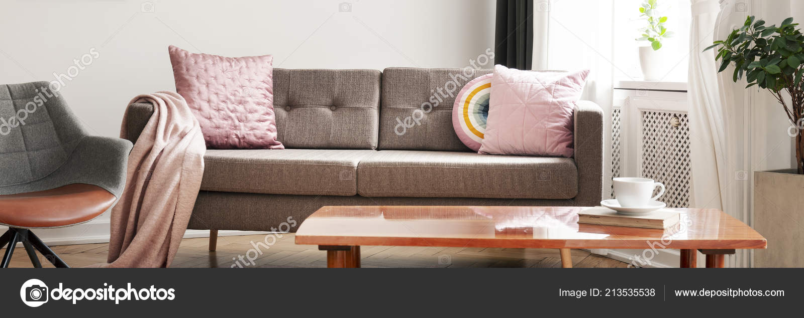 Amazing Panorama Wooden Table Next Sofa Pink Pillows Armchair Uwap Interior Chair Design Uwaporg
