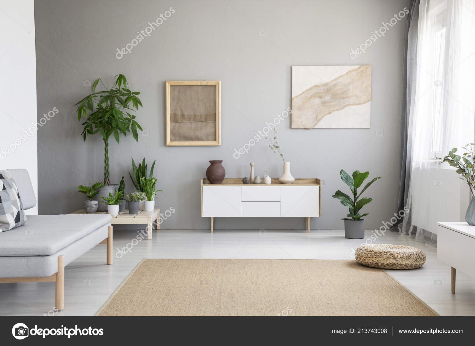 Posters Grijs Muur Boven Witte Kast Woonkamer Interieur Met
