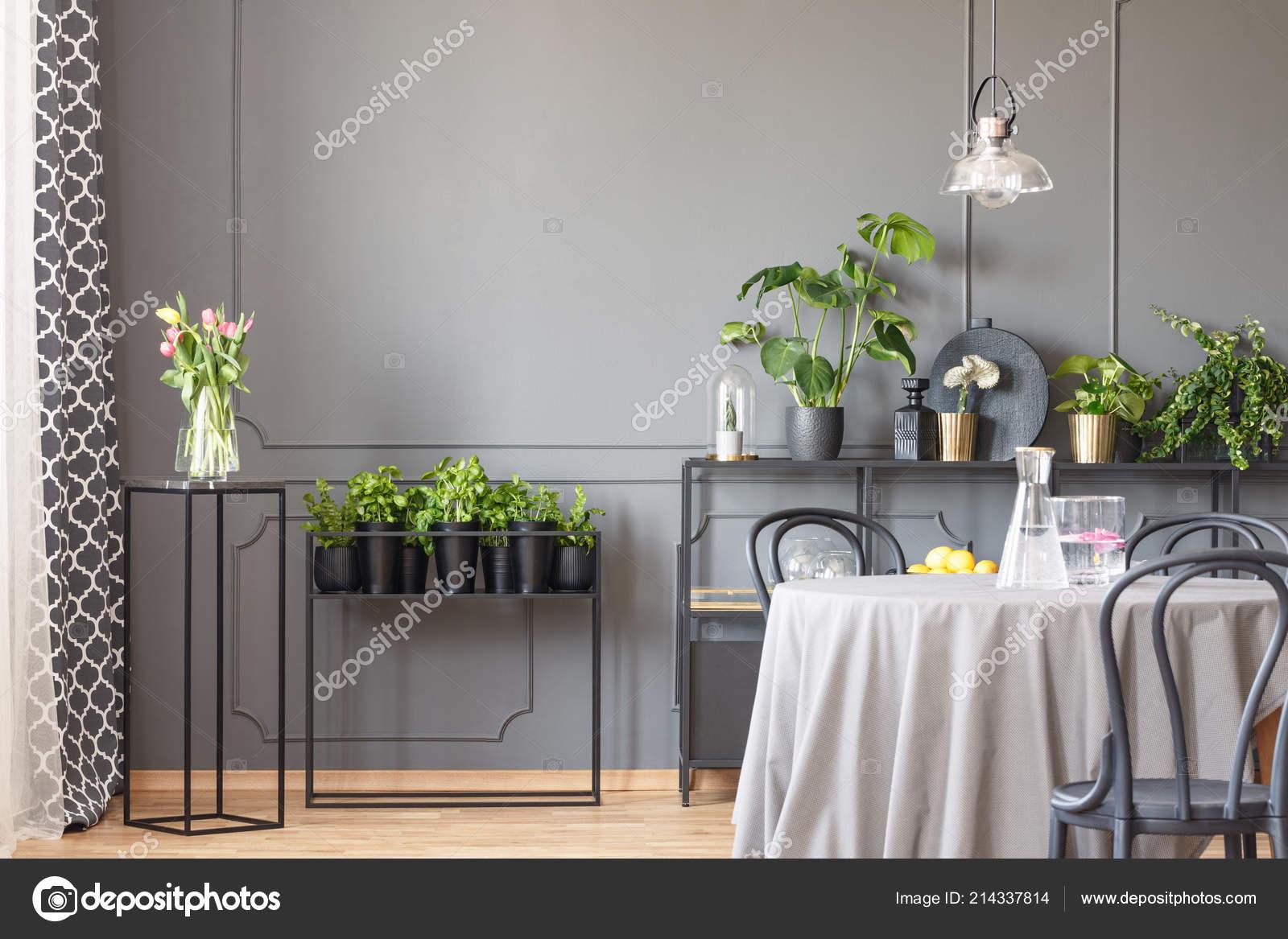 Flores Cuadro Negro Lado Las Plantas Interior Gris Comedor ...