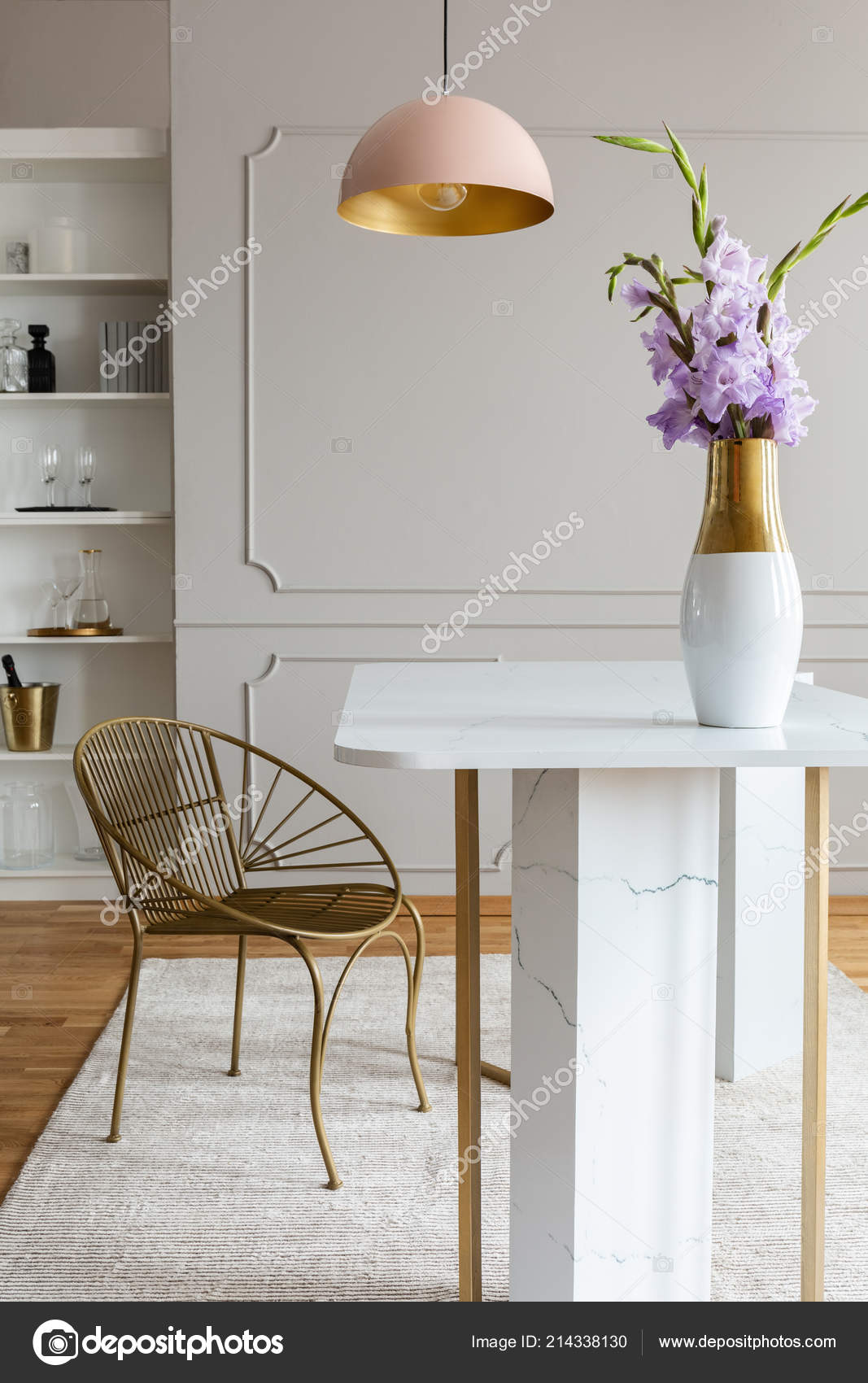 Marble And Rose Gold Bedroom Flowers White Marble Table Gold Chair Pink Lamp Grey Dining Stock Photo C Photographee Eu 214338130