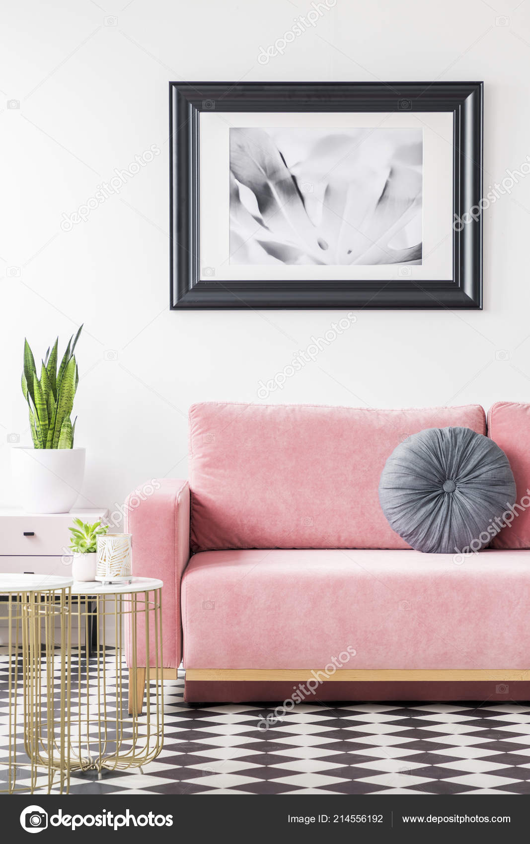 Astounding Pillow Pink Sofa Next Gold Table Plant Living Room Interior Interior Design Ideas Gentotthenellocom