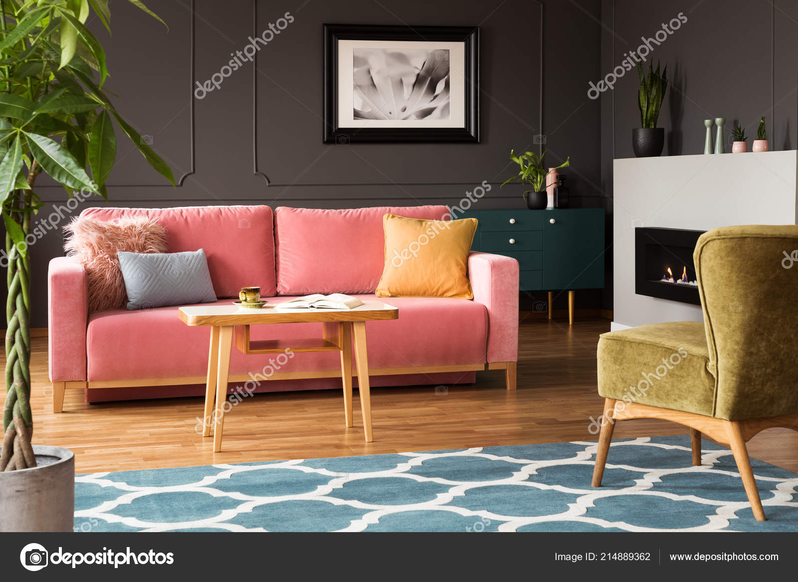 Green Armchair Pink Sofa Colorful Living Room Interior Blue ...