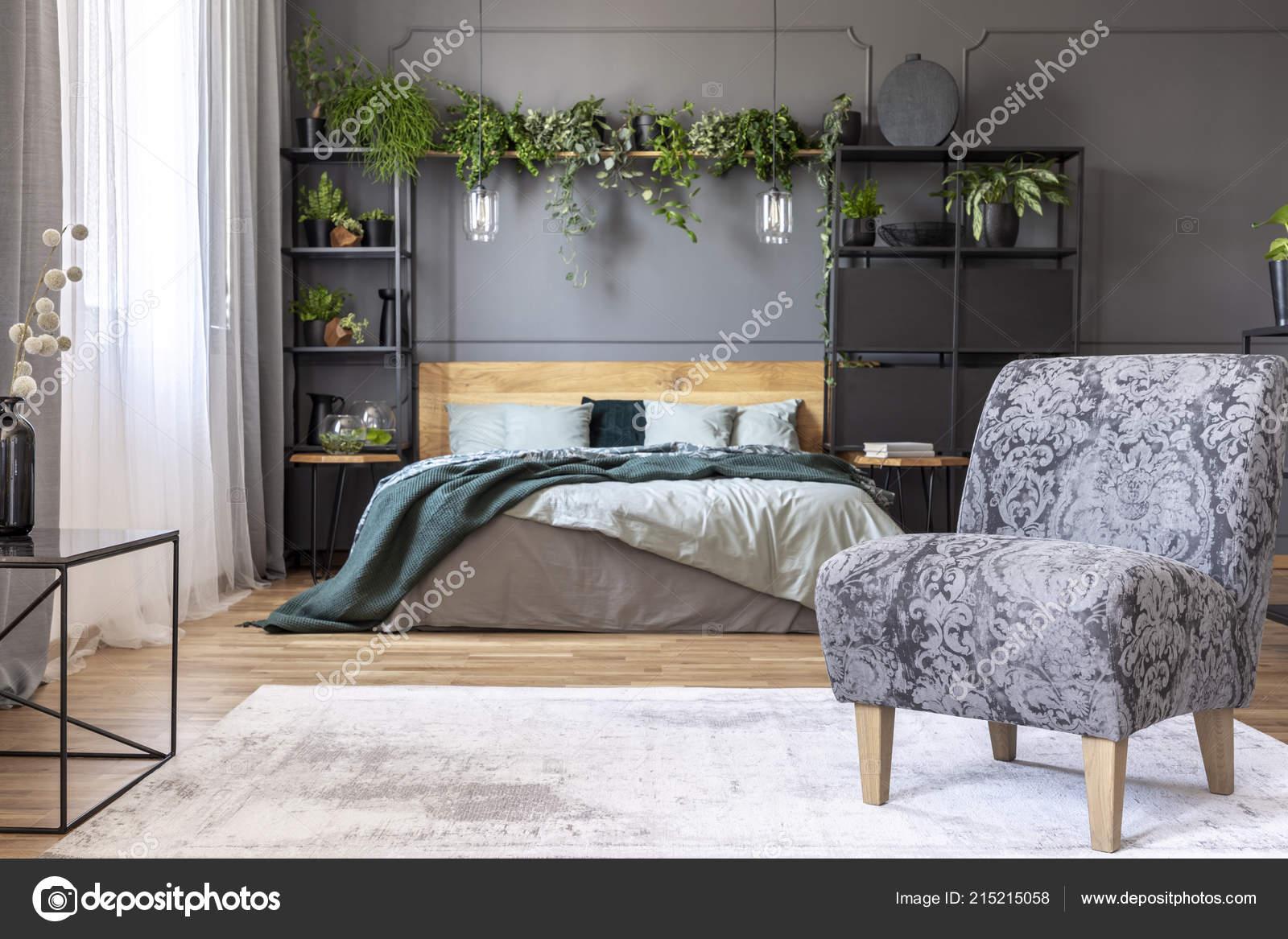 Gemusterte Graues Sessel Schlafzimmer Innenraum Mit Pflanzen Und ...