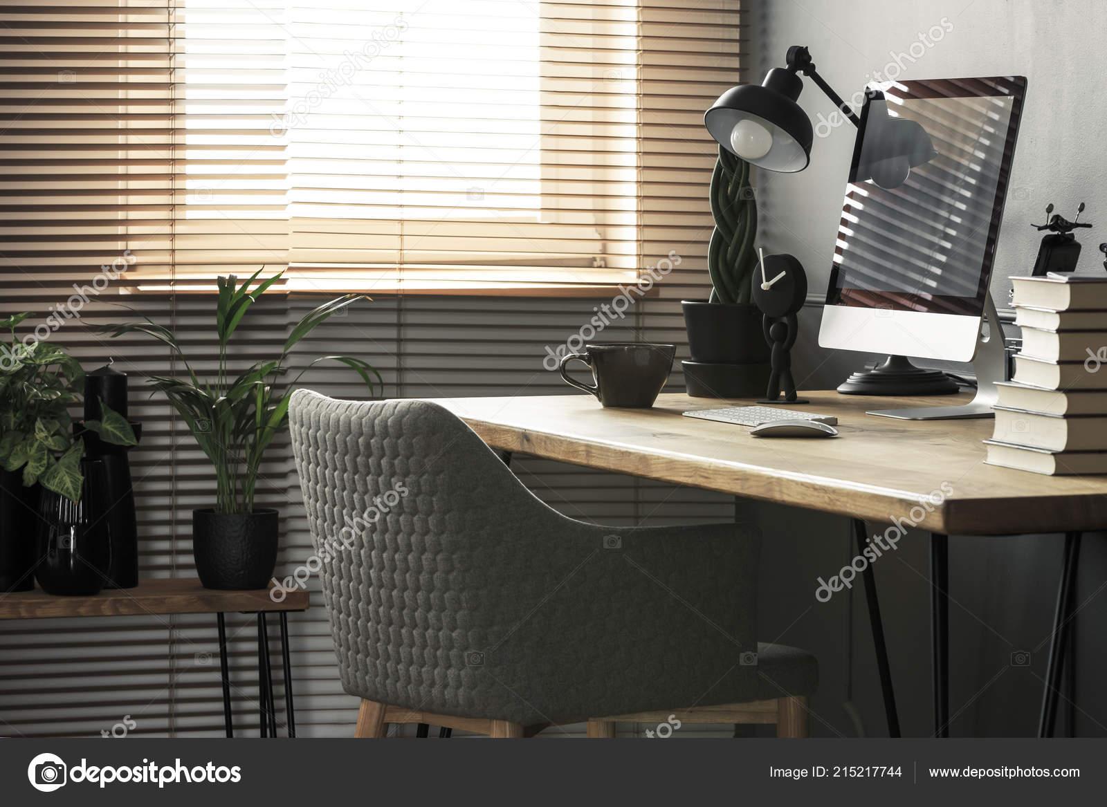 Grey Chair Wooden Desk Books Desktop Computer Bright