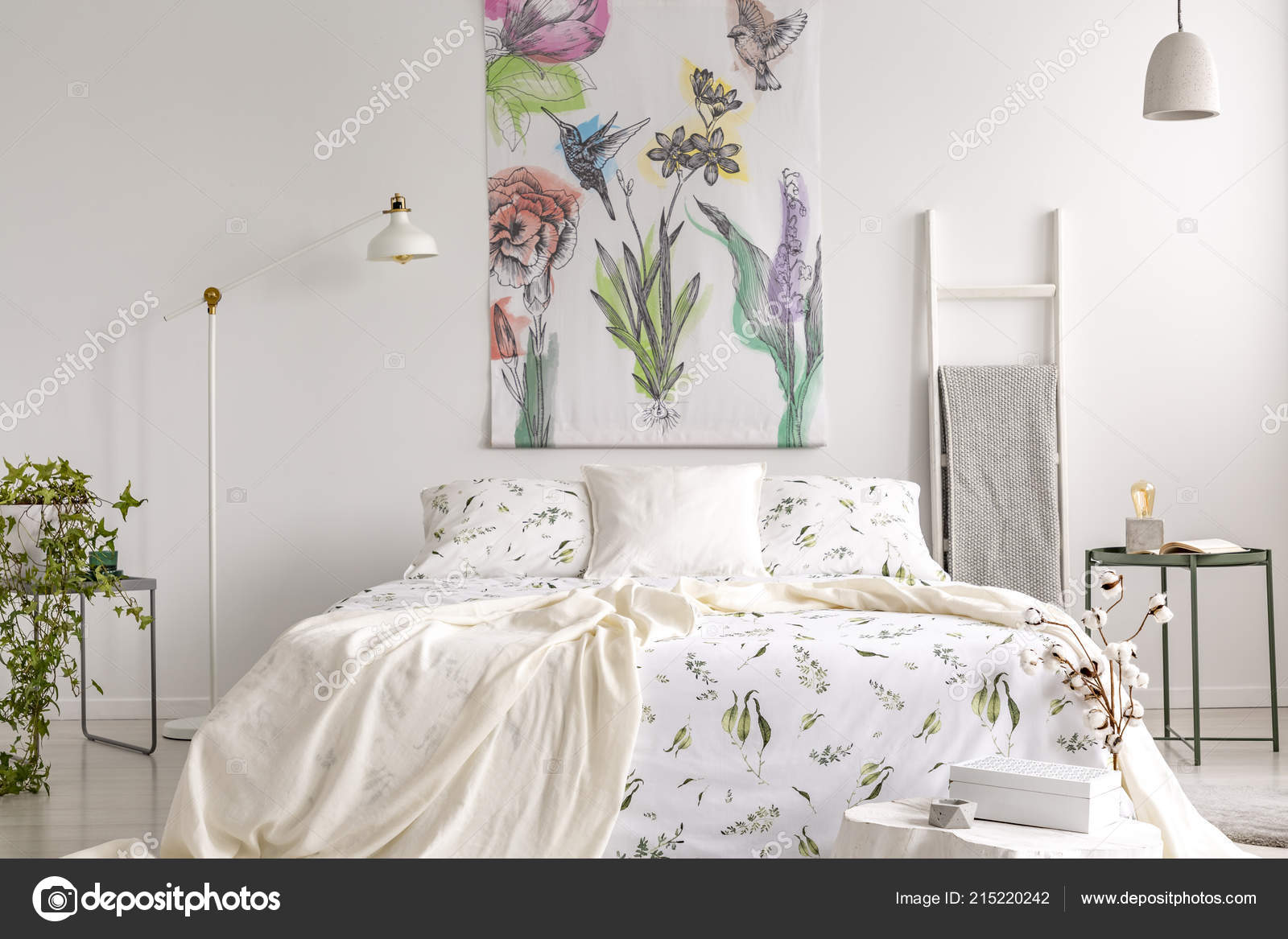 Fabric Above Bed Wall Art Flowers Birds Painted Fabric Bed Which Dressed Green Stock Photo C Photographee Eu 215220242