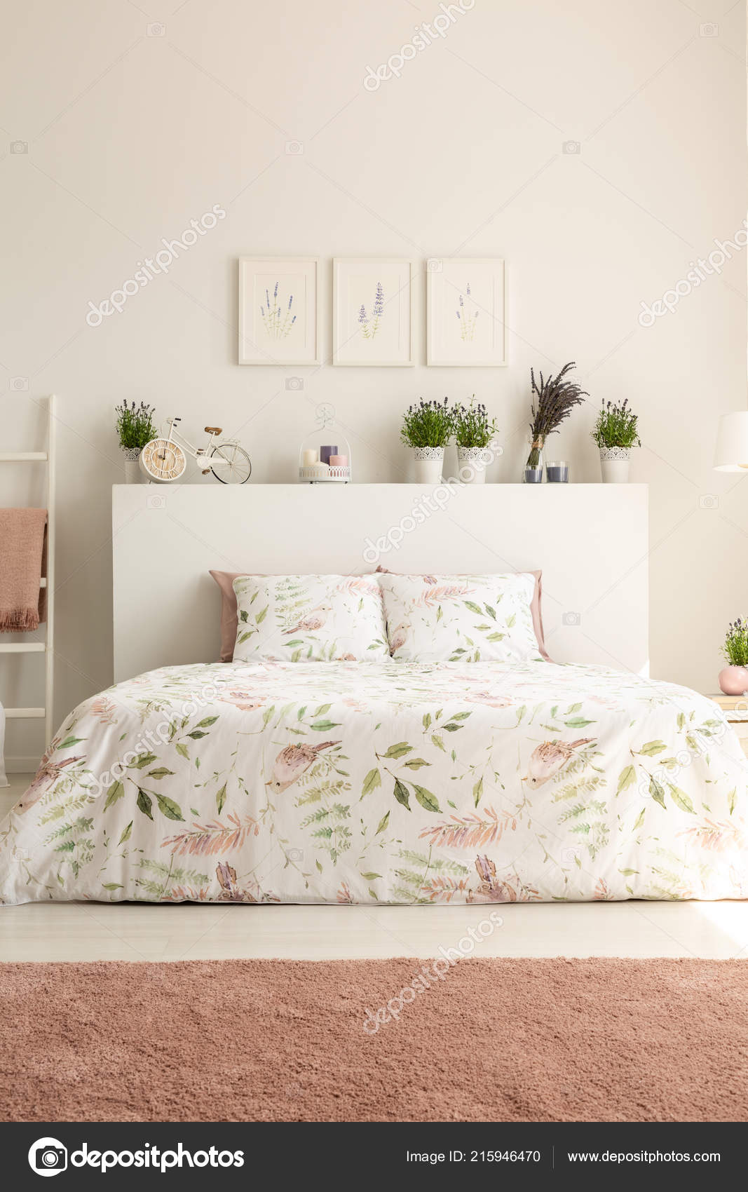 Pink Carpet Posters Bright Bedroom Interior Plants Bed ...