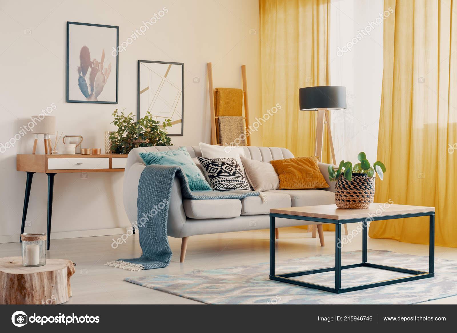 Orange Blue And Grey Living Room Orange Drapes Plant