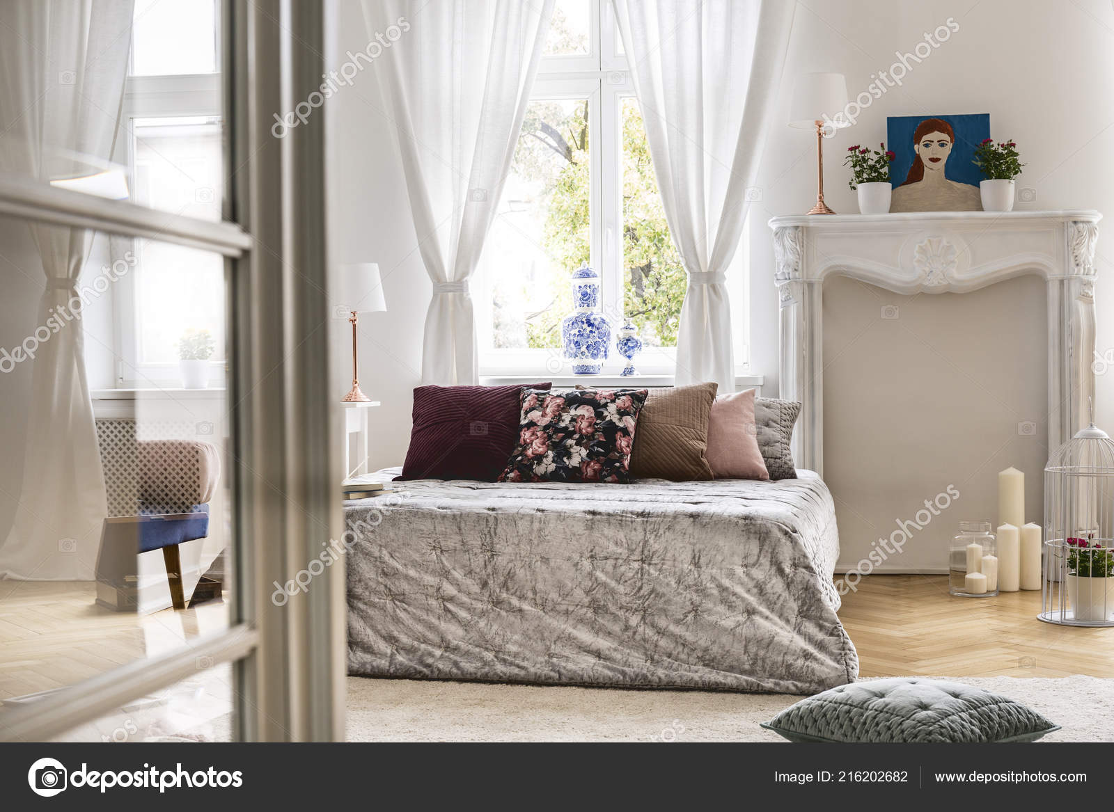 View Different Room Cozy Chic Bedroom Interior Big Bed Pillows