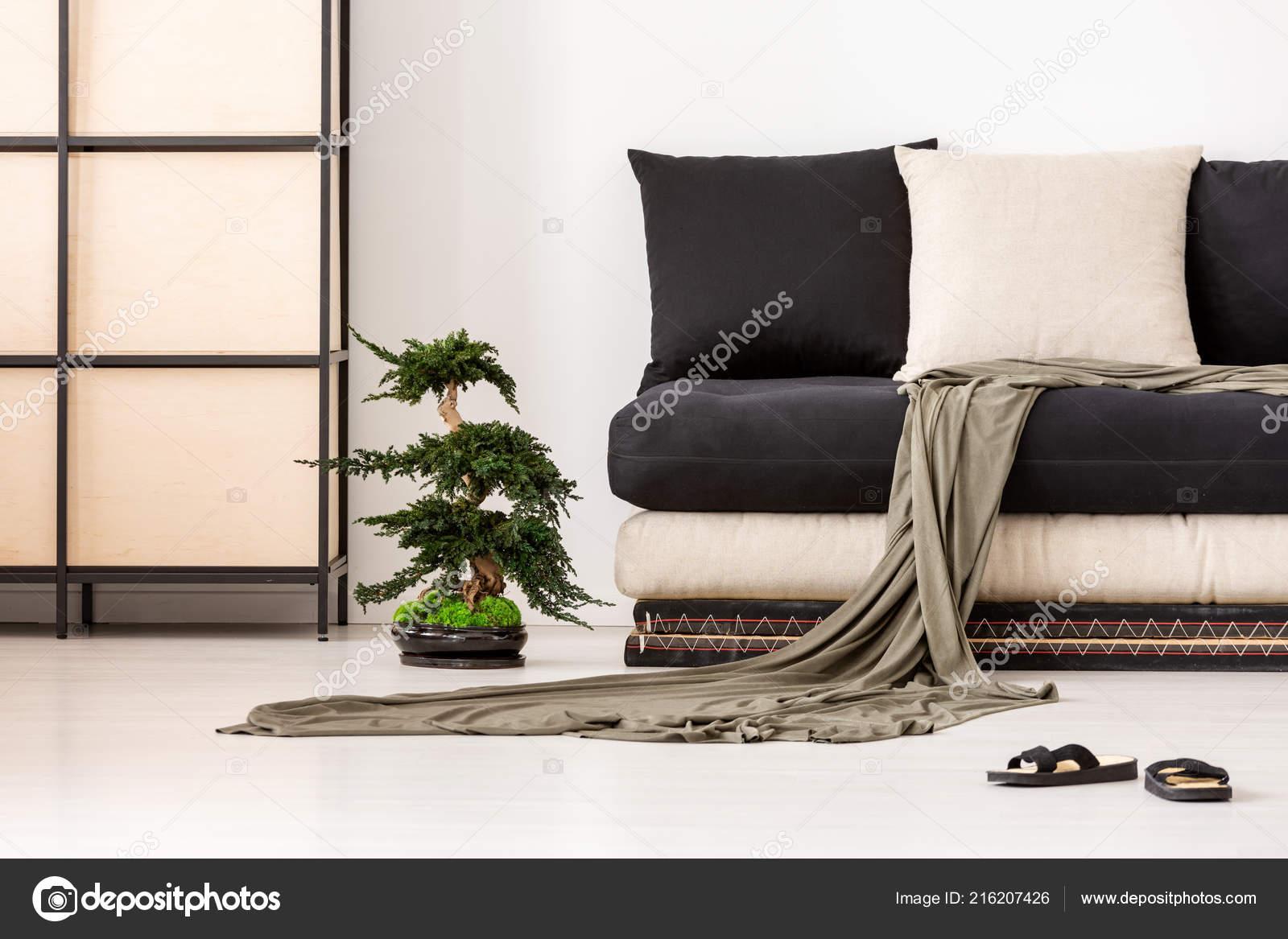 Decke Und Kissen Auf Schwarze Couch Asiatischen Wohnzimmer Interieur