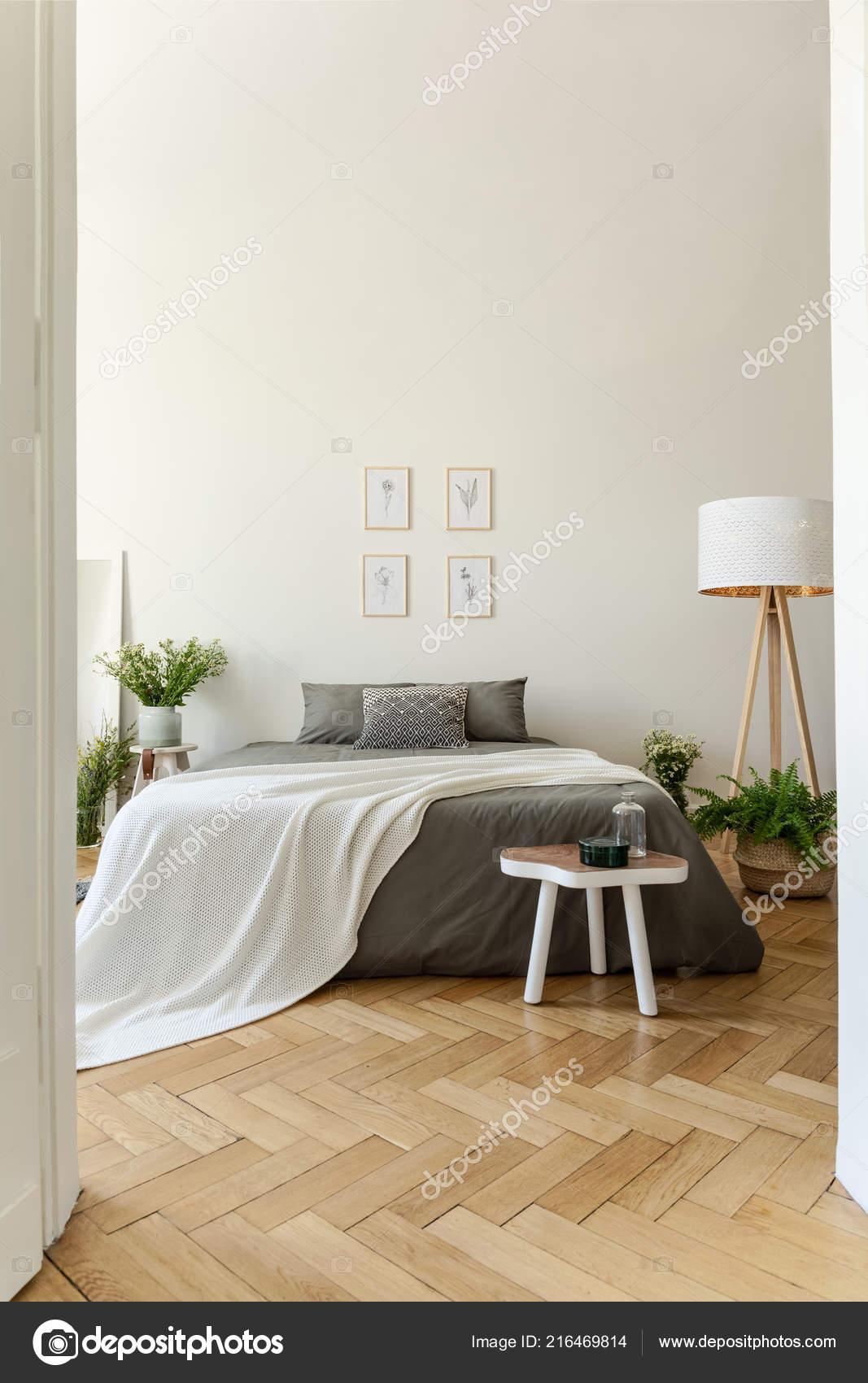 Intérieur Chambre Coucher Style Eco Avec Lit Vêtu Lin Graphite ...