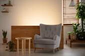 Grauer Sessel neben Holztisch im Wohnzimmer-Interieur mit Pflanzen und Licht. Echtes Foto