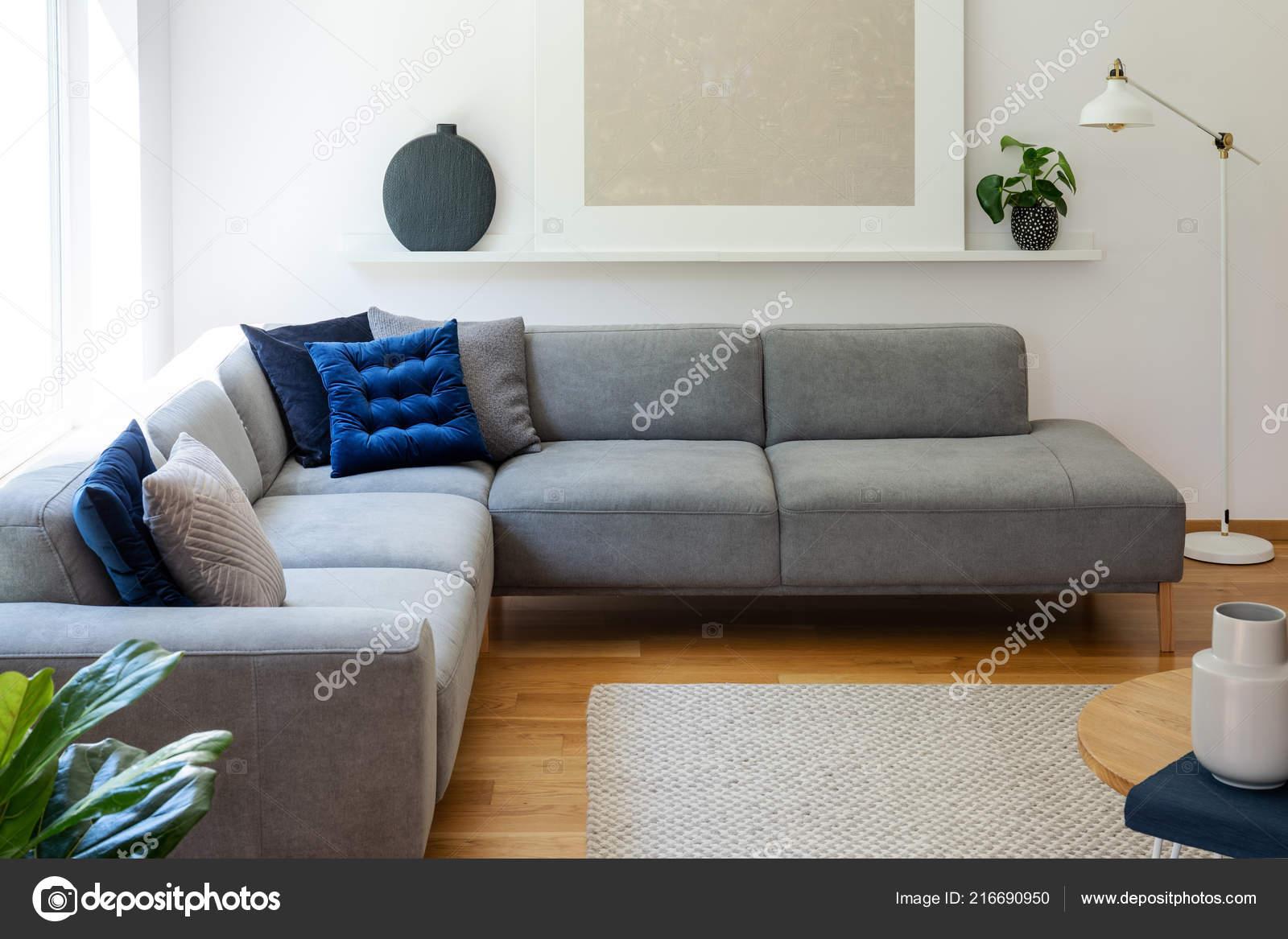 Blue Pillows Grey Corner Sofa Apartment Interior Lamp Plant Next — Stock Photo © Photographee.eu #216690950